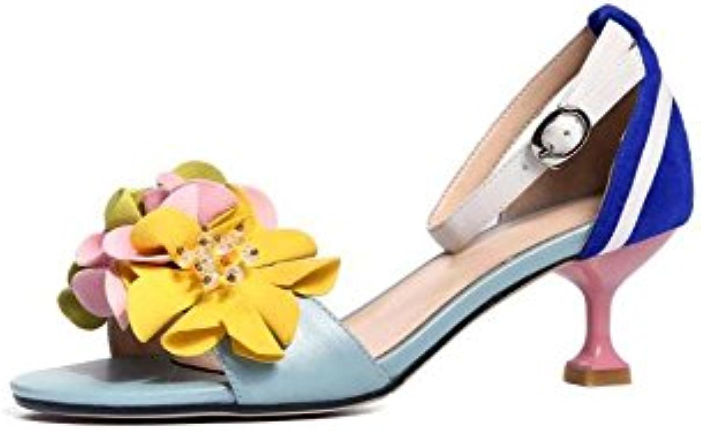 SHINIK Zapatos de mujer Sandalias Color coreano Flores mezcladas Súper tacón fino Con cuero Word Hebilla Sandalias...