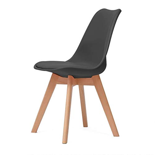 ZBHW Esszimmerstühle for Wohnzimmer, Gepolsterte Mid Century Stühle, Accent Chairs Legs mit Holzmuster, Mid-Back Support (Color : Black) -