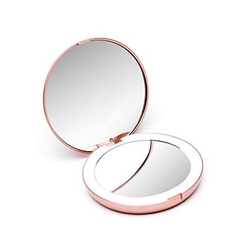 Fancii Taschenspiegel Zweiseitiger Schminkspiegel mit LED Licht, 1X / 10X Vergrößerung - Kompakt, Tragbarer, Große 10.50 cm Make-up-Spiegel Kosmetikspiegel Beleuchtet für Kosmetik Unterwegs (Rotgold) (Make-up-spiegel Mit Tasche)