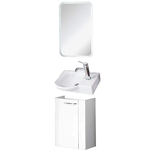 FACKELMANN Badmöbel Set Sceno Gäste WC 3-TLG. 45 cm weiß mit Waschbecken Unterschrank & Keramikbecken & LED Spiegelelement