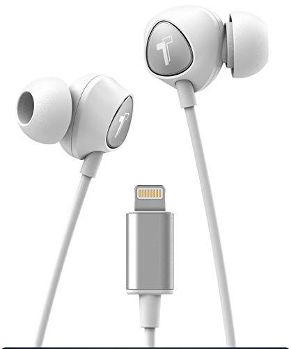 Thore V100 - Auriculares in-Ear para iPhone con Conector Lightning MFi Certificado por Apple Earbuds (2018) con Cable ergonómico y Control de Volumen y micrófono (Funda incluida), Color Blanco