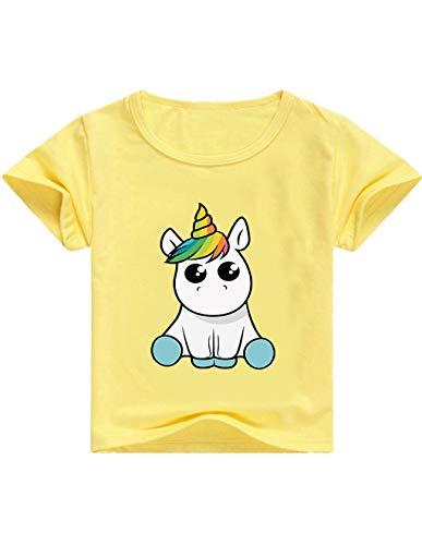 Camisetas Unicornios para Niñas Dibujos Animados Casual Camiseta de Verano Camisetas Niña de Manga Corta Tops T-Shirt (A-Amarillo, 130cm)