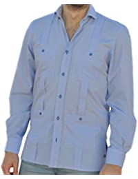 51204f8a98 Camisa Guayabera Caballero Cuadro Vichy Celeste