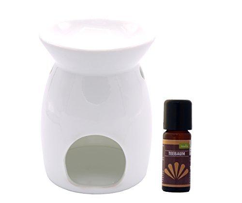 Duftlampe Teelicht Wärmer Stövchen Sabie mit Teebaum Öl 10 ml Wärmer Duftlampe