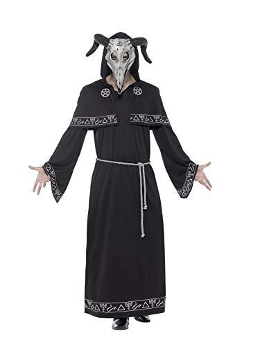Smiffys 45572L - Herren Sektenführer Kostüm, Gewand, Gürtel und Latex Maske, Größe: L, schwarz