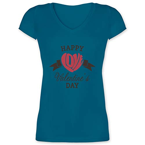 Valentinstag - Happy Valentine's Day Herz Love Typographie - XXL - Türkis - XO1525 - Damen T-Shirt mit V-Ausschnitt