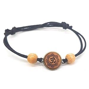 SOULSLICES Armband OM Mandala (2) mit Holzperlen - Strandschmuck - Festivalschmuck - Schlicht - Armband - Armreif - Bracelet - Männer & Frauen - Boho - Yoga - Ethno - Hippie - Freundschaftsarmband