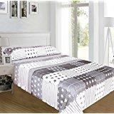 ForenTex - Juegos de sábanas, (NX-4019), Gris Estrellas, cama 150 cm, con tacto seda de sedalina, nacarina, de 250 gr/m2, ultra suaves,