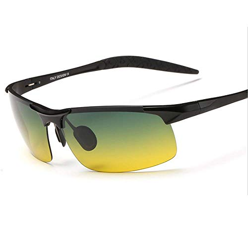 RED SHORE Mode Nachtsicht Sonnenbrillen ? Aluminium-Magnesium-Rahmen Fahrspiegel Full-Frame-Treiber Gläser für Sonnenstrahlen Anti-UV-Outdoor-Sportarten Reiten (Black) -