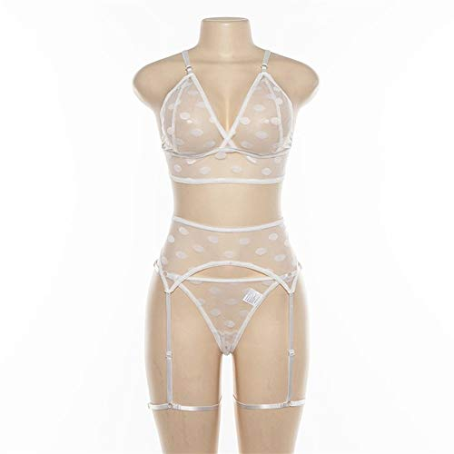 JQHLJLTY Open Back Polka Dot Weste hohe Taille Tanga Perspektive sexy Satz von Körper Engen Body (Color : White, Size : M)