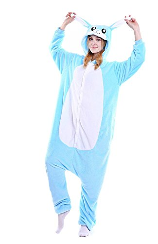 Pyjamas Bleu Lapin Hommes Adulte Unisexe Anime Kigurumi Onesies Deguisement Animaux Siamois Romper...
