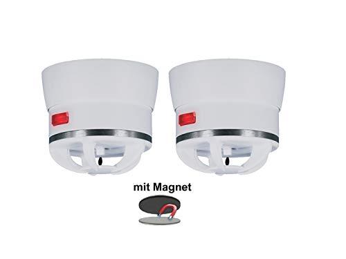 2er Set extra kleiner Mini Hitzemelder CAVIUS inkl. Magnethalter, 85dB-Signal, optimal für Küche oder Badezimmer, 3002-003Set-2