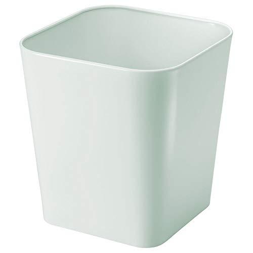 mDesign Cubo de basura de metal - Caja para cosméticos cuadrada con diseño elegante - Papelera metálica para cuartos pequeños - Estable contenedor de reciclaje, también para la cocina - verde claro