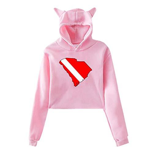 HYJDZKJY Frauen Mädchen Katze Einhorn Pullover Hoodie South Carolina State Cropped Sweatshirts (Carolina-sweatshirt South Weiß)