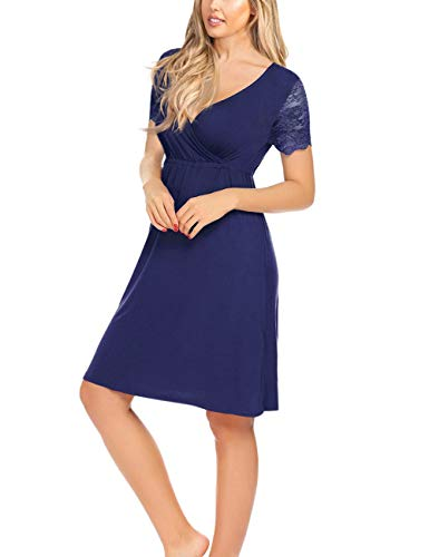 KOJOOIN Damen Umstandskleid Spitzenkleid SchwangereV-Ausschnitt Stillkleid Schwangerschafts Kleid mit Kurzarm