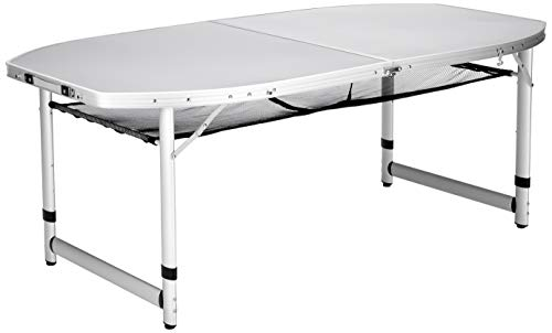 Campart Campingtisch/ Reisetisch - 150 x 80 cm wetterbeständige Rolltischfläche aus Aluminium/ höhenverstellbar/ mit Verstaunetz, TA-0795