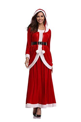 Kostüm Miss Womens Santa - Women Es Luxury Miss Santa Claus Kostüm Schal Kleid Santa, Größe: Freie Größe, Farbe: Rot Und Weiß