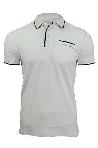 CrossHatch Herren Polo T-Shirt von Pinback' Kurzärmlig Weiß