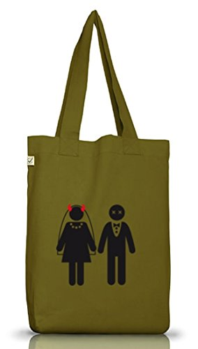 Shirtstreet24, GAME OVER 2, Junggesellenabschied JGA Jutebeutel Stoff Tasche Earth Positive Leaf Green