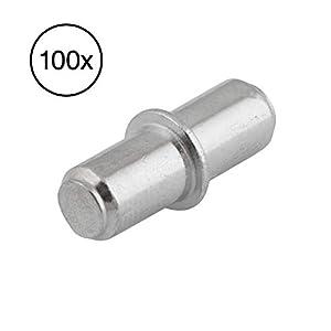 LouMaxx Bodenträger mit Ring für Bohrung - Regalstifte (100, 5mm)