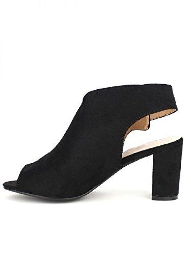 Cendriyon, Sandale Noire REBECCA Chaussures Femme Noir