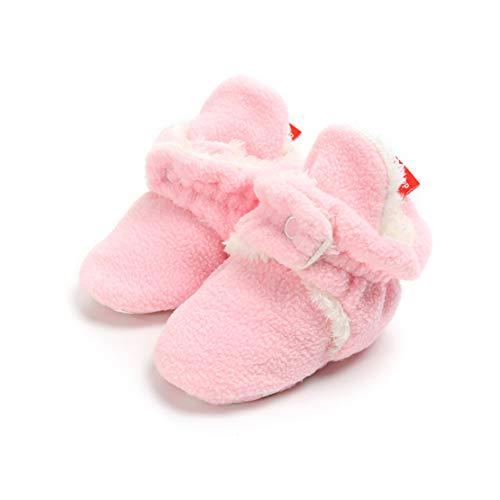 AUPUMI Unisex-Baby Neugeborenes Fleece Booties Bio Baumwoll-Futter und Rutschfeste Greifer Winterschuhe (6-12 Monate, Rosa) Bio-booties
