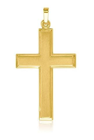 MyGold Kreuz-Anhänger (ohne Kette) Gelbgold 585 Gold (14 Karat) matt-glanz 40mm x 22mm Herrenschmuck Männerschmuck Goldkreuz Halskette Männerkette Bologna