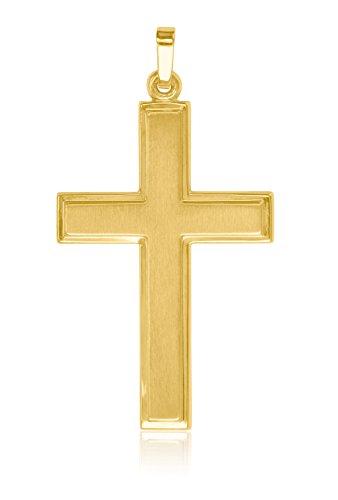 MyGold Kreuz Anhänger (Ohne Kette) Gelbgold 585 Gold (14 Karat) Matt Glanz 40mm x 22mm Herrenschmuck Männerschmuck Goldkreuz Geschenke Für Männer Geschenkideen Bologna V0009481