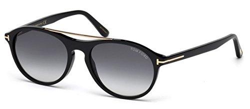Tom Ford Unisex-Erwachsene FT0556 01B 53 Sonnenbrille, Schwarz (Nero Lucido/Fumo Grad)