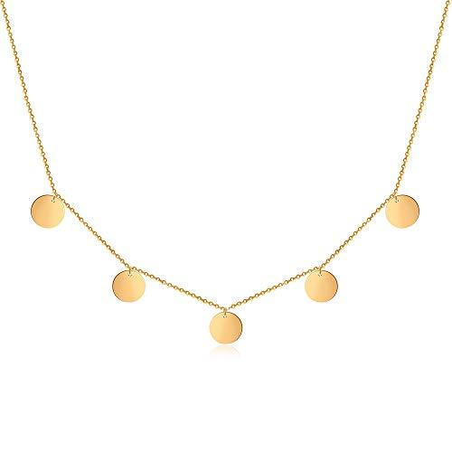 Good.Designs ® Damenkette Multicoin für Frauen | Mädchen Gold goldene Kette Halskette goldfarben rund Damenhalskette Damenkette Damenschmuck