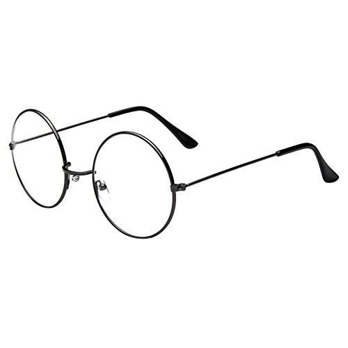 BOLANQ Sonnenbrille Damen, Mode Oval Rund freie Objektiv-Glas-Weinlese-Aussenseiter Retro-Art-Metall(Grau)