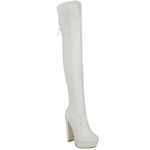 Damen Hoch Schenkelhoch Stiefel Overknee Party Plateau High Heels Größe - Weiß Kunstleder, 40