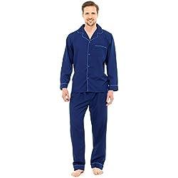 Pyjama 2 pièces Traditionnel - Haut Style Chemise/Pantalon - Homme - Bleu Marine - L