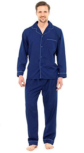 Herren Schlafanzug - Klassisches Design - Hemd & Hose - Einfarbig Dunkelblau - XL