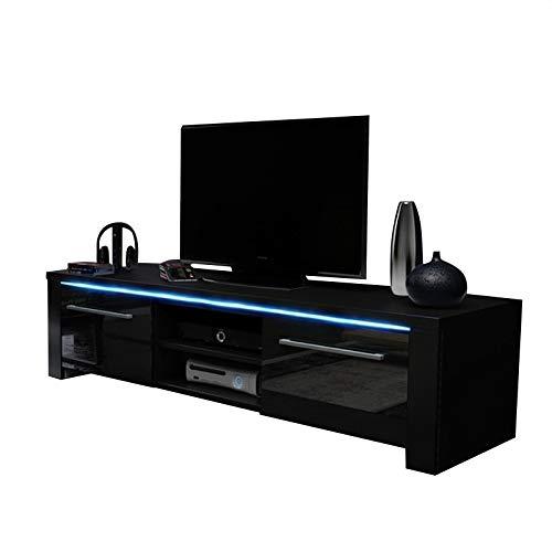 Messa - Meuble TV TV TV/TV 2 placards 2 Compartiments Ouverts (140 cm) Noir éclairage LED