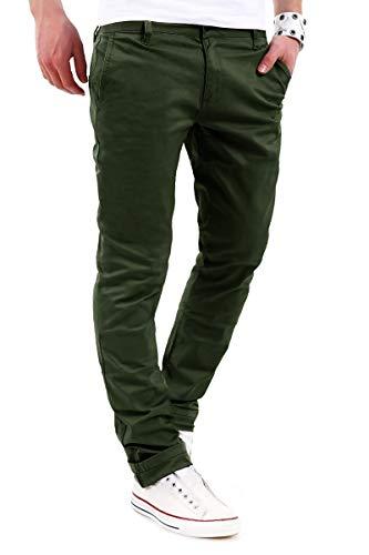 behype. Herren Basic Chino Jeans-Hose Stretch Regular Slim-Fit 80-0310 Khaki W34/L32 Herren Khaki Chino