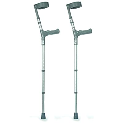NRS Healthcare Double Adjustable Crutches with Comfy Handle, Mediu m Height - Pair