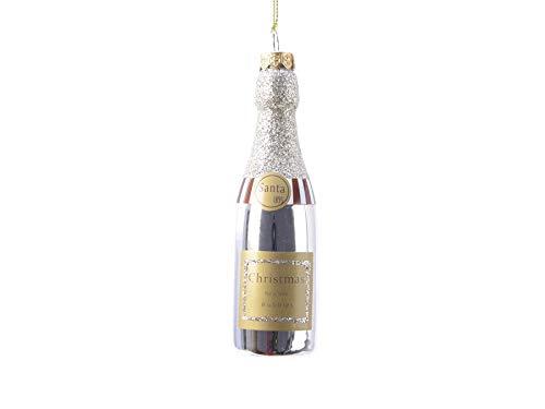 TFH Weihnachtshänger Champagner Flasche Echtglas Glitzer Silber Weihnachtskugeln Ausgefallen modern Sektglas Weinglas Christbaumschmuck Dekohänger Weihnachten Deko