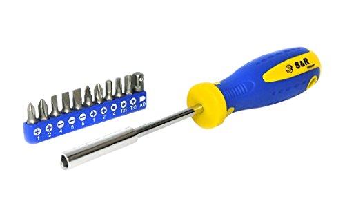 S&R Giravite Portainserti Magnetico / Set Punte per Cacciavite ad incastro con 11 punte