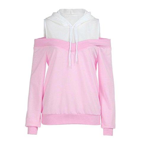 ODRD [S-XL] Damen Langarmshirt Tops Schulter Hoodie Sweatshirt mit Kapuze Sommerkleid Kaftan Plain Casaul Übergroßes Maxikleid mit Langen Ärmeln Shirt Pullover Pulli (M, Pink)