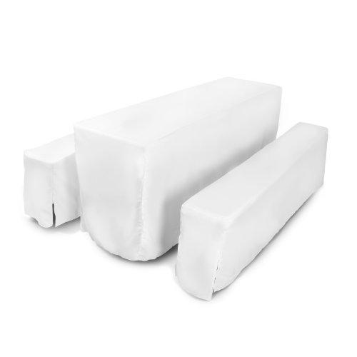 Vanage Bierzeltgarnitur-Husse in weiß - 3-teilig für Festzeltgarnituren - 2 Bierbankhussen gepolstert und 1 Tischhusse - für Tischbreite ca. 50 cm - perfekt geeignet für Bierzeltgarnituren