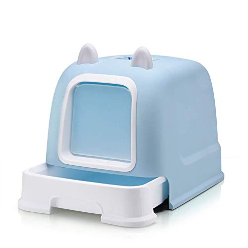 Cat Litter Tray,Fully Enclosed Double Layer Litter Boxes Deodorization Expansive Soil Hooded Cat Pan,Pet Supplies (Color : Blue, Size : 52.5 * 40.5 * 40cm)