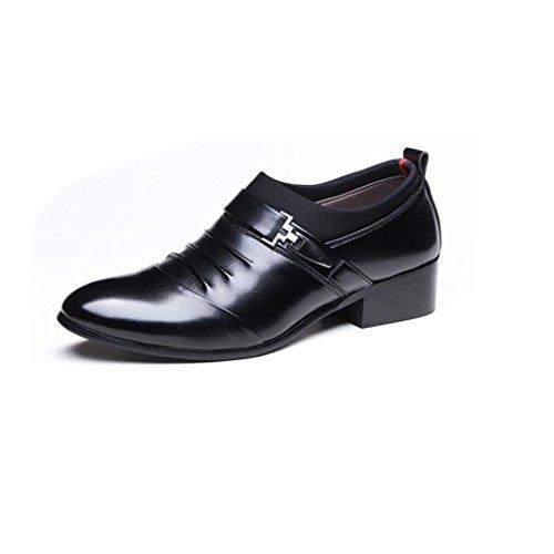 Herrenschuhe Leder Frühjahr/Herbst Komfort/Fashion Boots Business Lederschuhe Party & Abend/Lederschuhe (Farbe : Schwarz, Größe : 43)