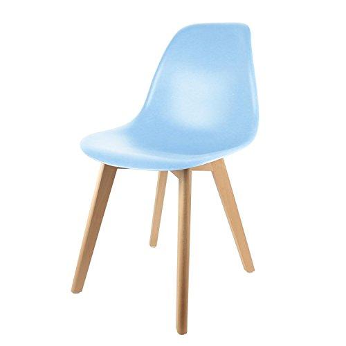 THE HOME DECO FACTORY Chaise scandinave Enfant - H. 56,5 cm - Bleu