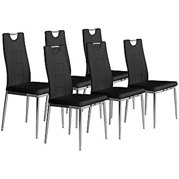 CAVADORE Stuhl 6 Er Set BAMBI / 6x Esszimmerstuhl In Modernem Design /  Metall Verchromt / Lederimitat Schwarz / 52 X 46 X 97 Cm (T X B X H)
