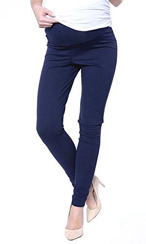 Mija - Elegante Damen Slim Umstandshose mit Bauchband 1046 (EU40 / L, Marineblau)