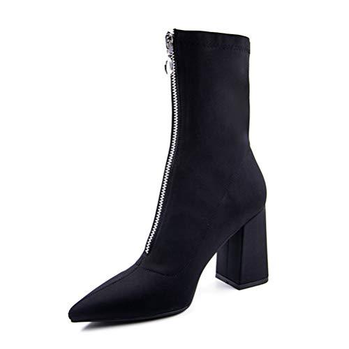 Frauen spitz Zehen Socken Stiefel quadratische Ferse Schuhe Stiefeletten Mitte Kalb Highheels Zip Mitte Kalb Stilettos 8-zoll-zip-boot