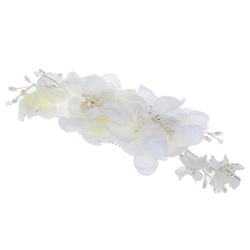 Pince a cheveux - TOOGOO(R)Barrette avec perles fleurs de mariage pour mariee clip a cheveux bijoux de mariee bijoux de cheveux