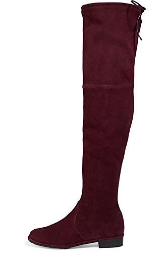 Jushee Kniehohe Stiefel Frauen Runde Zehe Oberschenkel Hohe Overknee Stiefel Stretch Wildleder Flache Ferse Hohe Stiefel Dunkelrot 41 EU (Stiefel Handgefertigten Leder)