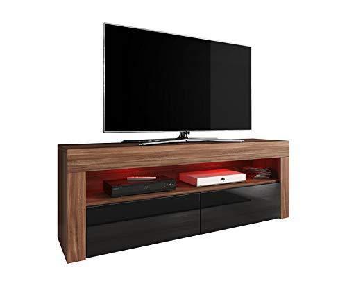 E-Com TV Schrank TV-Möbel TV Stand Entertainment, Lowboard Luna 140cm, Korpus Pflaume Baum/Fronten schwarz Hochglanz mit RGB LED - Holz-entertainment-schrank